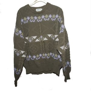 Vintage Oversize Olive Green Cable Knit Sweater